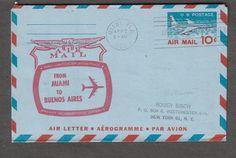 1960 - postal llegada por vía aérea en el primer vuelo Braniff Airways de Miami a Buenos Aires