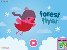Wanna go for an adventure with the little bird? There are lots of surprises in the forest - cupcakes, X'mas light, singing birds, etc.  This app is good for hand-eye coordination.  There are no speaking words (not for language learning)