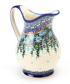 Blue Floral & Vine K Pitcher by Lidia's Polish Pottery