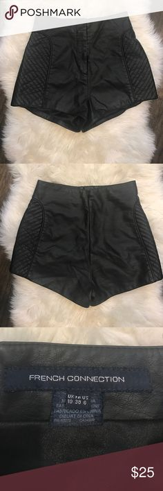 French Connection Black Leather High Waisted Short These shorts are so comfy and so sexy!  I wore them twice and dry cleaned.  They are a size 6 but fit like a size 4. French Connection Shorts