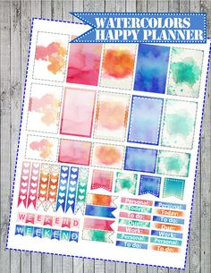 Watercolor printable stickers Happy Planner by StickerPlanning