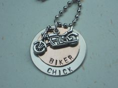 "Hand Stamped ""Biker Chick"" Necklace by ItsPersonalJewelry"