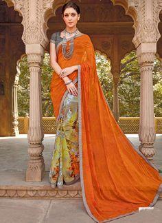 Floral Orange Digital Print Work Georgette Casual Saree