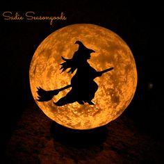 Vintage Light Fixture Halloween Moon, by Sadie Seasongoods, featured on Funky Junk Interiors