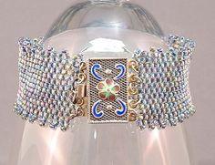 Beautiful Rainbow Beadwoven Bracelet Lacy edged by mostlybeads