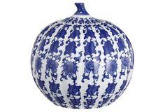 "9"" Ceramic Pumpkin Jar, Blue"