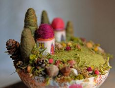 These precious and tiny needle felted fairy gardens and castles are full of color, life and detail! The are the work of Mary, artist and designer at Ginger Little in Lincoln, Nebraska. Mary says sh...