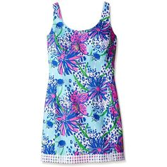 Lilly Pulitzer Women's Eaton Shift Dress, Resort White In The Garden,... ($188) ❤ liked on Polyvore featuring dresses, sleeveless shift dress, lilly pulitzer, shift dress, lilly pulitzer dress and no sleeve dress