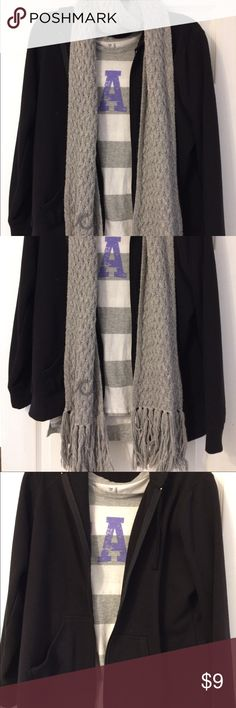 Outfit Bundle! This bundle includes a St. John's Bay black hooded zip up jacket, a gray and white Gap short sleeve shirt and a gray Hollister scarf with fringe! All in great condition! GAP Tops