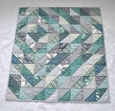 Aqua Reef Studios | the Quilt or Stitch Blog: Half Square Triangles - same piecing as for herringbone.  Love the layout!