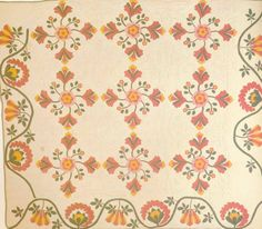 Rose of Sharon, 1860. Made by Cirendilla Allcock. Bowling Green, Coxcomb with Rose Border, 1860. Made by a member of the Hart family. Clark Co, Kentucky.