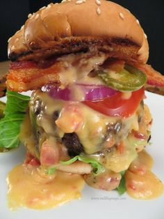 Melding Magic: Tex Mex Bacon Queso Burgers . Theres no recipe for it. Will try and copy it though. Have not made it yet