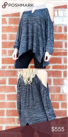 Coming soon Charcoal cold shoulder tunic Tops Tunics