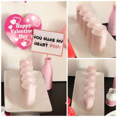 "Heart yogurt push pops are the perfect healthy addition to a sugary dessert buffet, love the ""You make my heart pop"" idea!"