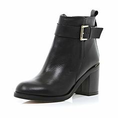 Effortless chic and its best - these classic black block heel ankle boots are a winter style staple.  #riverisland
