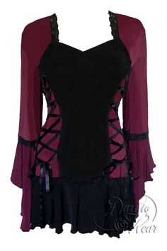 Dare To Wear Victorian Gothic Women's Bolero Corset Top Burgundy