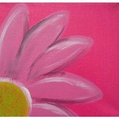 painting flower w/ navy + white dots background