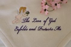 Childs Embroidered Inspirational Angel Blanket by LoisLizzaCreations on Etsy