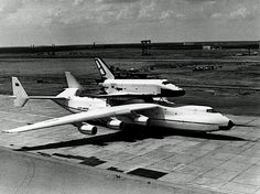 """USSR Shuttle Transporter Plane, Antonov An-225, 1980s 'The Antonov An-225 Mriya is a strategic airlift cargo aircraft, designed by the Antonov Design Bureau in the 1980s. It is the world's heaviest aircraft. Built in order to transport the Buran orbiter, the An-225′s name means """"Dream"""" (Inspiration) in Ukrainian.'"""