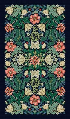 Blue Compton rug: Beth Russell canvas based on William Morris design.  Exquisite beyond comprehension!
