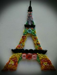 eiffel tower, quilling, roses, paper art.