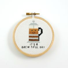It's a brewtiful day cross stitch pattern finished.  #brewtiful #pun #funny #coffe