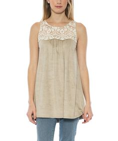Love this Beige Lace-Yoke Tunic on #zulily! #zulilyfinds