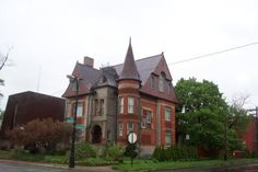 This house is on the corner of a busy street. Has a whimsical appearance to it. Detroit Houses, Busy Street, Victorian Houses, Some Pictures, Michigan, Whimsical, Corner, Homes, Mansions