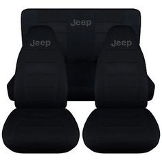 Jeep-wrangler-YJ-Front-Rear-car-seat-covers-solid-black-w-Jeep-CHOOSE-COLOR