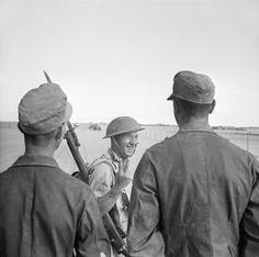 A British soldier flips off two German prisoners captured at El Alamein, 26 October 1942.