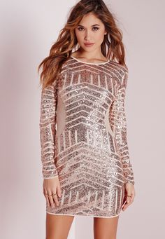Missguided - Long Sleeve Sequin Bodycon Dress Rose Gold