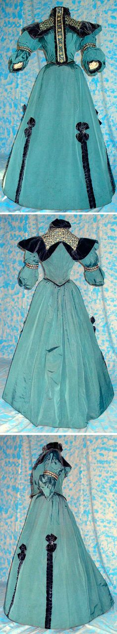 Two-piece dress, ca. 1898, silk. Trimmed with black velvet, chemical lace, sequins, and beads. Abiti del Passato