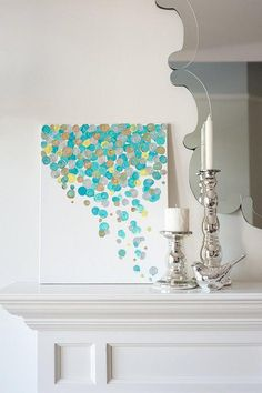 Suzie: Art/Wall Decor - 16x20 Canvas Painting Confetti Turquoise by luluanddrew on Etsy - canvas painting, confetti, turquoise