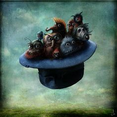 The illustrations of Alexander Jansson has a presence that disturbs us. A world of monsters and strange beings, between dark and foggy, cool colors, ... but within that lies a certain surrealist poetry, which conveys a tenderness and traps us. Original, interesting, beautiful, dreamlike.