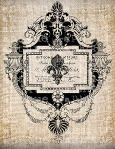 Antique France French Paris Fleur de Lis Illustration Digital Download for Tea Towels, Papercrafts and burlap