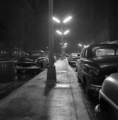 Cars under streetlights in New York City, 1958.