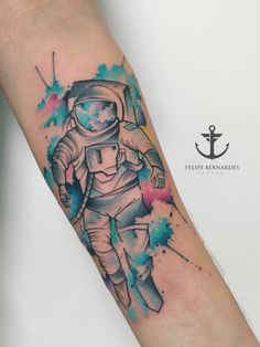 Tattoo by Felipe Bernardes, Brazilian Tattoo Artist | Watercolor/ Sketch work (Astronaut).