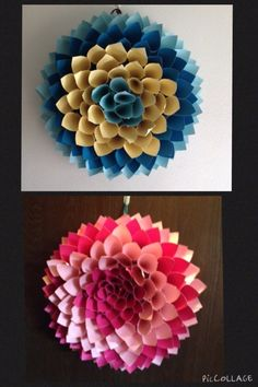 Pinterest project- Our attempt at paper flower wreaths