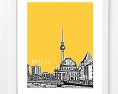 Berlin Art Print Skyline Paper wall Poster Cityscape by lauraamiss