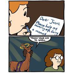 @the_yuniversity posted to Instagram - Spelling matters. 🦌 (Comic by Zach Weinersmith.) . . . #homophones #grammar #spelling #deer #dear #smbc #saturdaymorningbreakfastcereal Grammar Humor, Spelling, Deer, Comic, Lol, Teaching, Sayings, Funny, Instagram