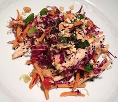 Rainbow Slaw with Chicken: delicious, filling and healthy lunch idea.