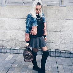 Tina is styling our over the knee boots with a colourful fur jacket! Loooooovee your style! X