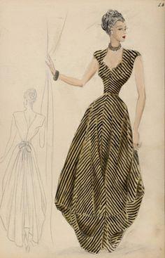 [Modèle de robe du soir], Maison Mad Carpentier, AH 1947-1948  Muguette Buhler et Martial Contantini 1940