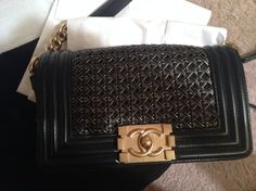 4e2cf053bbb5 Chanel Classic Flap Boy Small Braided with Gold Hardware Sold Out Runway  Style Rare Black Sheep Skin Cross Body Bag 12% off retail