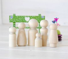 Family of 6 Wooden Peg Dolls  Unfinished Wooden by CraftyWoolFelt