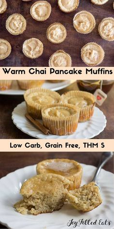 Warm Chai Pancake Muffins - Low Carb, Grain Free, THM S - If you love pancakes in the mornings these are a perfect make-ahead breakfast. Simply pop a couple in the microwave to warm and the glaze…More 12 Guilt Free Keto Friendly Egg Dish Recipes Keto Breakfast Muffins, Keto Breakfast Smoothie, Pancake Muffins, Healthy Muffins, Low Carb Breakfast, Keto Pancakes, Breakfast Recipes, Healthy Make Ahead Breakfast, Breakfast Casserole