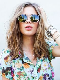 mid length wavy hair, sunglasses and floral