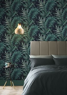 Handpainted in Graham & Brown's studio, Yasuni Midnight Wallpaper is deep and intriguing. Featuring a navy backdrop with luscious leaves and hues of teal. Green Leaf Wallpaper, Palm Wallpaper, Blush Wallpaper, Tropical Wallpaper, Botanical Wallpaper, Home Wallpaper, Blue Wallpaper Bedroom, Leaves Wallpaper, Wallpaper Samples