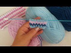 ÇOK BEĞENİLEN RENKLİ ÖRGÜ MODELİ ( renkli zikzaklar) örgü modelleri - YouTube Baby Knitting Patterns, Knitting Stitches, Stitch Patterns, Crochet Patterns, Easy Crochet, Knit Crochet, Crochet Hooded Scarf, Crocodile Stitch, Baby Pullover