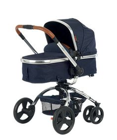 The Mothercare Orb Pram and Pushchair has a unique one hand rotation that allows you to quickly convert from forward to parent-facing mode, and is travel system compatible. This special edition features tan leatherette handles, a mirror finish chassis, a sheepskin trimmed cosytoe and a stunning navy herringbone fabric used throughout.